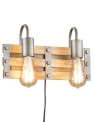2-flammige Wandleuchte industriell Holz und Metall-3158ST