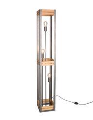 Industrielle Stehlampe Metall und Holz-3159ST