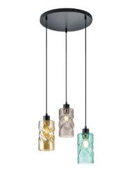 Fröhliche Pendelleuchte mehrfarbig schwarz Glas-3189ZW