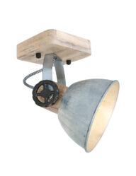 Robuster Deckenspot Nickel und Holz-7968NI