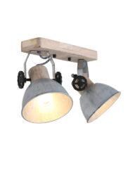 Robuste Deckenleuchte Nickel und Holz-7969NI