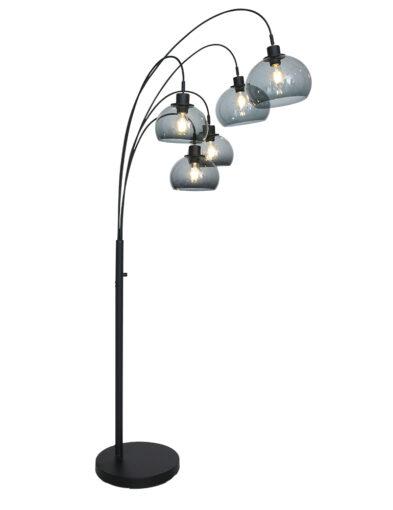 Mehrflammige Bogenlampe schwarz-9331ZW