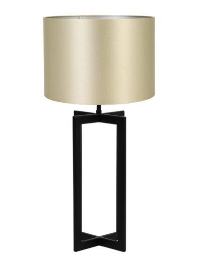 Tischleuchte viereckiger Lampenfuß beige und schwarz-9345ZW