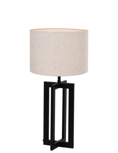 Tischleuchte mit beigen Lampenschirm schwarz-9370ZW