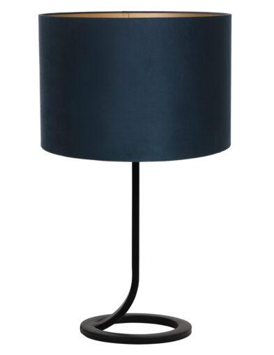 Fließender Lampenfuß mit blauem Schirm schwarz-9375ZW