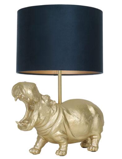 Tischlampe Nilpferd gold und blau-9406GO
