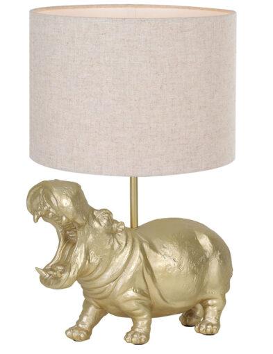 Tischleuchte Nilpferd gold braun-9407GO