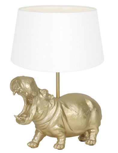 Tischlampe Nilpferd gold und weiß-9408GO