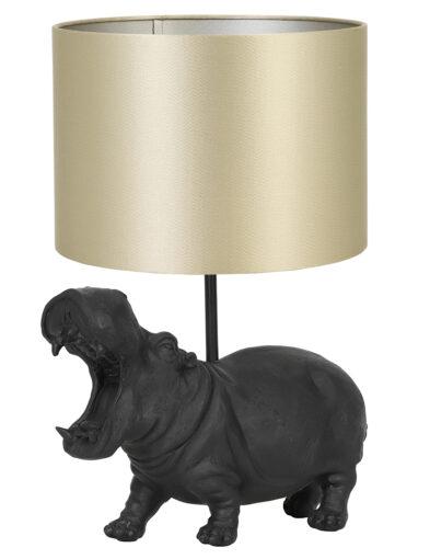 Tischlampe Nilpferd schwarz gold-9410ZW