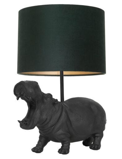 Tischleuchte Nilpferd schwarz und grün-9411ZW