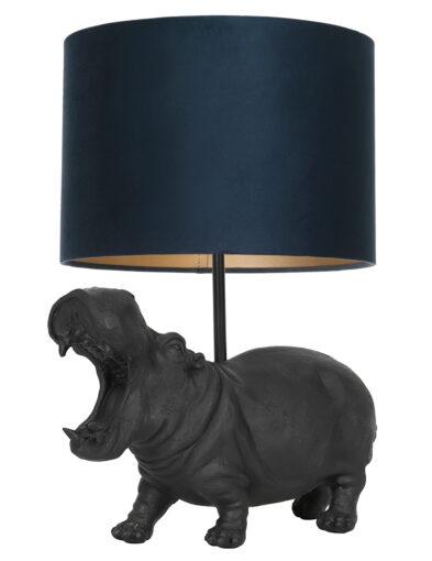 Tischleuchte Nilpferd schwarz und blau-9412ZW