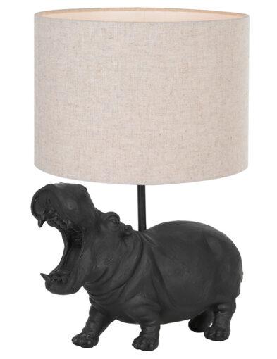 Tischlampe Nilpferd schwarz und braun-9413ZW