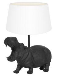 Tischlampe Nilpferd schwarz und weiß-9414ZW